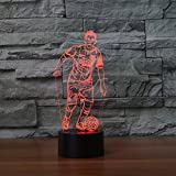 3D Soccer Player Night Light 7 Color Change LED Table Desk Lamp Acrylic Flat ABS Base USB Charger Home Decoration Toy Brithday Xmas Kid Children Gift