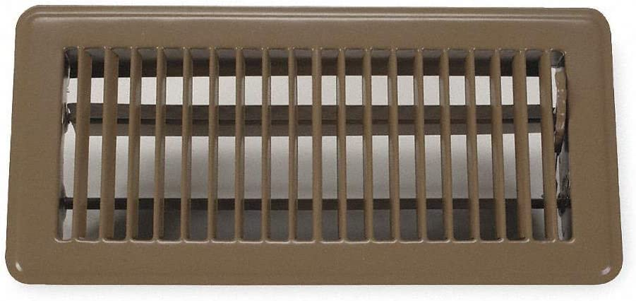 Rocky Mountain Goods Floor Register Vent - 4-Inch by 10-Inch - Easy Adjust air Supply Lever - Premium Finish - Heavy Duty to Allow Walk on use (Brown) - -