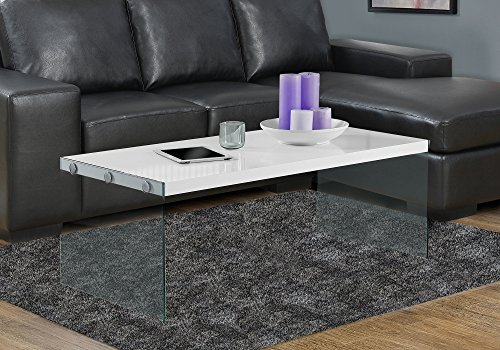"Monarch specialties , Coffee Table, Tempered Glass, Glossy White, 44""L"