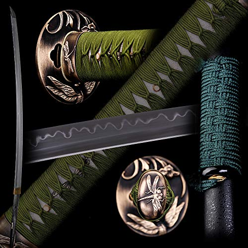 siwode Handmade Katana,Xin New Rope,No Blood Groove, Full Tang,Japanese Ninja Samurai Real Sword (T10 Clay_Tempered) 40-Inch