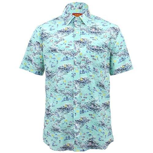 Loud Originals Regular Fit Hemd mit kurzen Ärmeln - Küste Strand Aufdruck