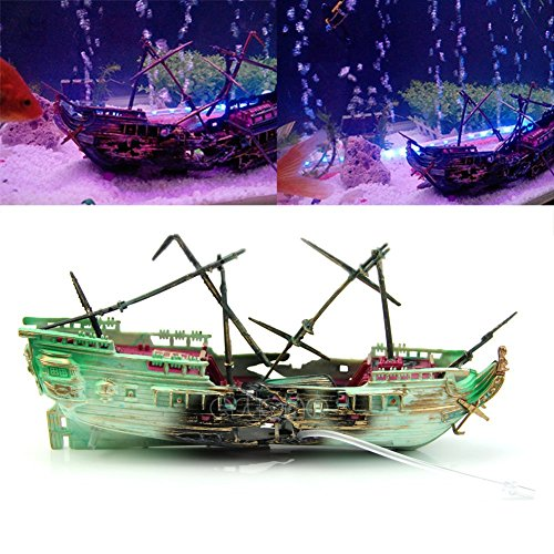 (YingYing Pet Accessories Aquarium Ornament Wreck Boat Sunk Ship Air Split Shipwreck Fish Tank Cave Decor)