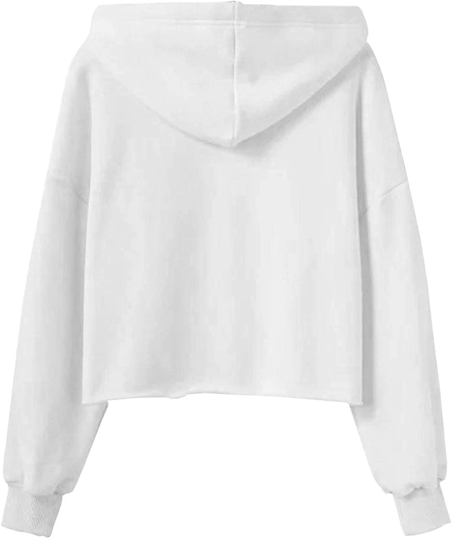 Teen Girls Letter Print Crop Top Hoodie Solid Color Sweatshirt Jacket Sweater Jumper Pullover Tops