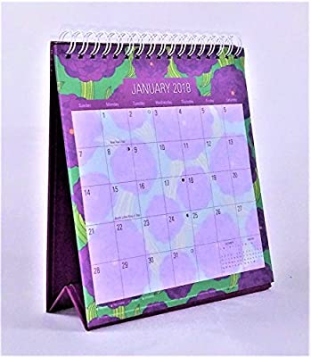 2018 Standing Desk Calendar (Purple Flowers)