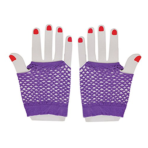 Purple Fingerless Gloves (Neon Fishnet Fingerless Wrist Gloves Party Accessory - Purple)