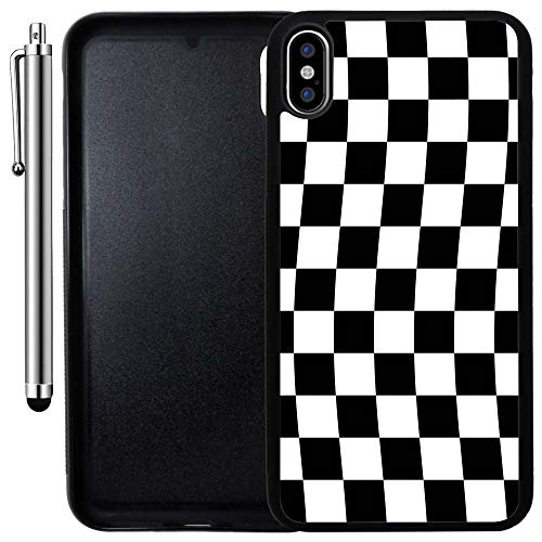Custom Case Compatible with iPhone Xs MAX (6.5 inch) (Checkered Flag Finish Line) Edge-to-Edge Rubber Black Cover Ultra Slim | Lightweight | Includes Stylus Pen by Innosub