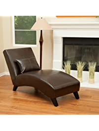 laguna brown leather curved chaise lounge