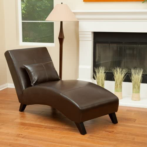 Laguna Brown Leather Curved Chaise Lounge Chair and Pillow  sc 1 st  Amazon.com : leather chaise lounge chair - Sectionals, Sofas & Couches