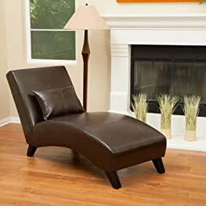 Laguna brown leather curved chaise lounge - Amazon bedroom chairs and stools ...