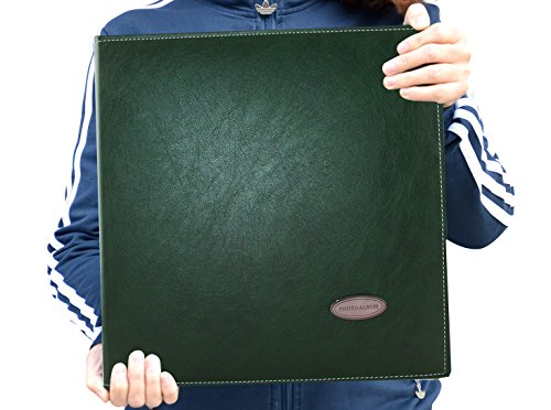Zoview Self-Adhesive Photo Album, Dust-free, air-free, glue free and waterproof Album, Family album, Leather Cover,Hand Made DIY Albums Holds 3X5, 4X6, 5X7, 6X8 ,8X10, photos,(Green, Large) (Handmade Album)