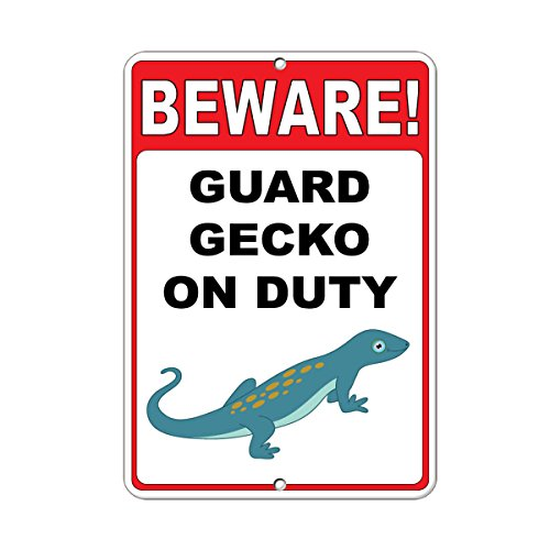 Beware! Guard Gecko On Duty Style 2 Funny Quote Aluminum METAL Sign