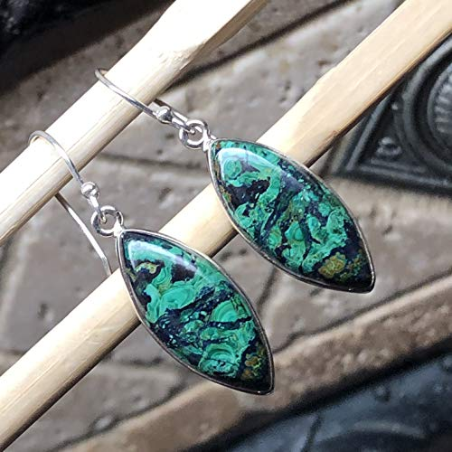 Natural Malachite In Azurite 925 Sterling Silver Solitaire Smooth Scenic Earrings 40mm ()