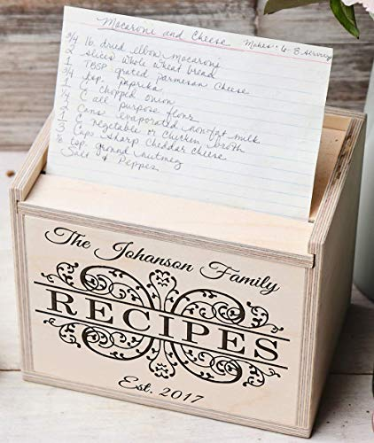 Family Recipes - Custom Engraved Personalized Bamboo Recipe Box With Cards