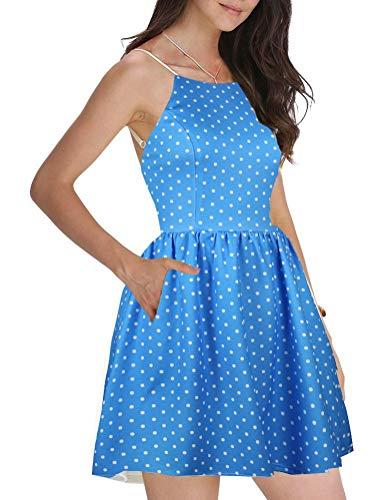 (FANCYINN Women Sexy Spaghetti Strap Semi Formal Short Mini Skater Casual Dress Polka Dot L)