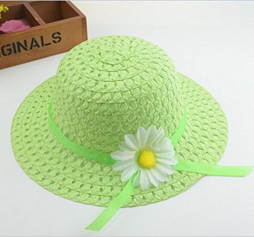Girls Sunflower Straw Tea Party Hat Set 9 Pcs Assorted Colors