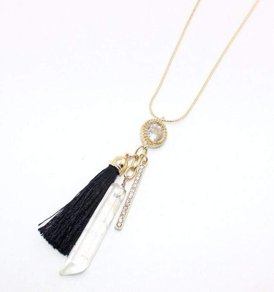 Collar,Joyería Cristal Negro Collar Largo De Cadena De Serpiente De Piedra Natural Transparente Borla Negra Collar Sencillo Conjunto Femenino Joyas