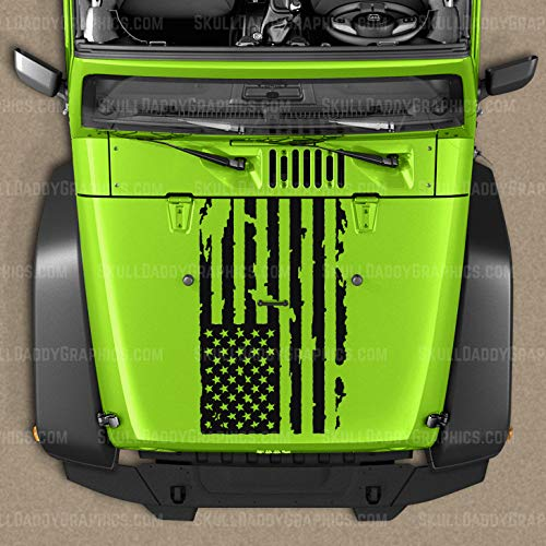 Skull Daddy Graphics Distressed Flag Hood Decal Sticker to fit Jeep Wrangler JL JK JKU 2007-2018 (Matte Black)