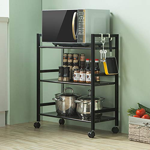 SSLine 3 Shelf Metal Rolling Kitchen Storage Cart Organizer, Microwave Oven Stand Cart on Wheels Mobile Utility Cart Baker Rack Shelving Unit - Black
