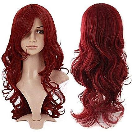 60cm Parrucca Rossa Lunga Donna con Frangia Capelli Mossi Sintetici  Parrucche Cosplay Halloween - Vino Rosso 74ecad0d34ed