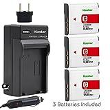 Kastar Battery (3-Pack) and Charger for Sony NP-BG1, NP-FG1 and Cyber-shot DSC-W120, W220, W150, DSC-H3, DSC-H7, DSC-H9, DSC-H10, DSC-H20, DSC-H50, DSC-H55, DSC-H70, DSC-HX5V, HX7V, HX9V, HX10V, HX30V