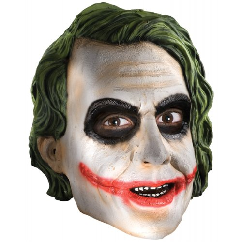 Dark Knight Joker Costume Accessories (Rubie's Costume Co Men's Batman The Dark Knight The Joker Adult 3/4 Mask, Multi, One Size)