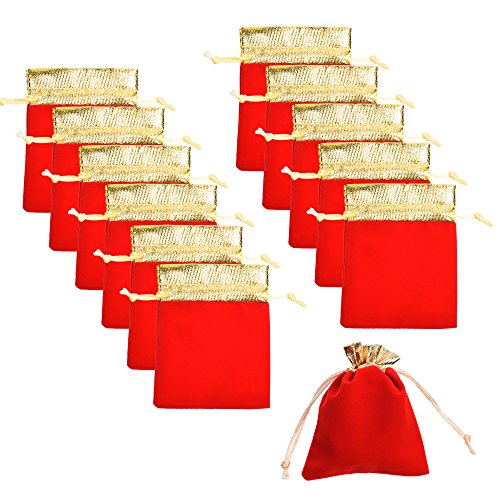 COSMOS Pack of 12 Golden Tone Color Trim Party Wedding Favor Velvet Cloth Drawstring Gift Bag Jewelry Pouch, 4 x 4 Inches