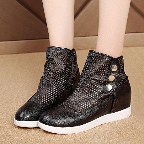 transpirable Ladies Transer negro mujeres de botas aumento Comfy zapatos Wild Hollow deporte zapatillas EOwwqdA