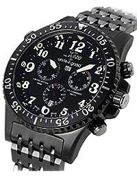 Xezo Men's Air Commando Swiss-Quartz Pilots Diver Black Gun-Metal Chronograph Wrist Watches. Day, Date.Waterproof 30 Bars