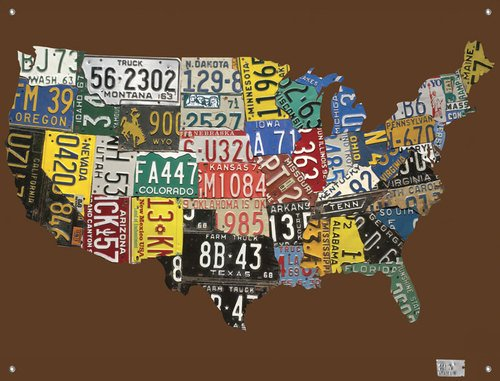 Oopsy Daisy Canvas Wall Murals License Plate USA Map Chocolate by Aaron Foster, 42 by (Oopsy Daisy Collage)