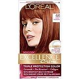 L'Oréal Paris Excellence Créme Permanent Hair Color, 6R Light Auburn, 1 kit 100% Gray Coverage Hair Dye