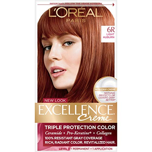 L'Oréal Paris Excellence Créme Permanent Hair Color, 6R Light Auburn, 1 kit 100% Gray Coverage Hair Dye (Best Highlights For Natural Red Hair)