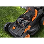 """WORX WG779 40V Power Share 4.0 Ah 14"""" Lawn Mower w/ Mulching & Intellicut (2x20V Batteries) 14 Dual 20V Power Share batteries deliver 40V of Maximum Power and Performance Patented intellicut technology delivers Power on demand save Your battery for when you Really need it Foam padded handles provides a comfortable grip for reduced fatigue while cutting"""