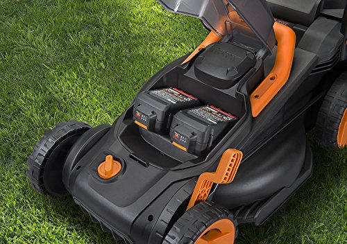 """WORX WG779 40V Power Share 4.0 Ah 14"""" Lawn Mower w/ Mulching & Intellicut (2x20V Batteries) 5 Dual 20V Power Share batteries deliver 40V of Maximum Power and Performance Patented intellicut technology delivers Power on demand save Your battery for when you Really need it Foam padded handles provides a comfortable grip for reduced fatigue while cutting"""