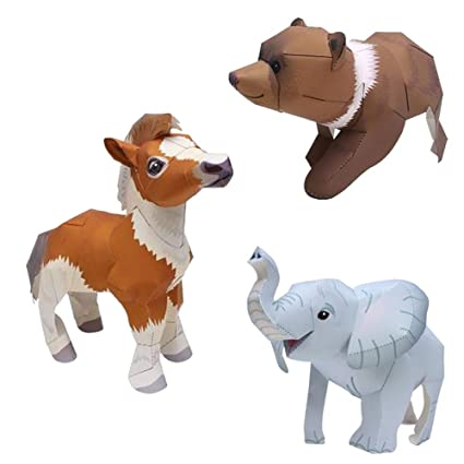 Amazon Com 3d Animals Origami Paper Paper Craft Kit Pony Bear