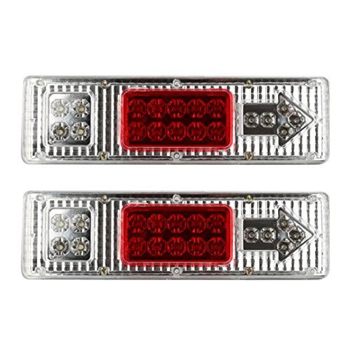 Car Tail Light - Jushye 1 pair 19 LED Tail Light Car Truck Trailer Stop Rear Reverse Turn Indicator Lamp (Chameleon Outdoor Wall Bracket)