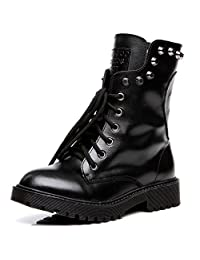 Shenn Women's Round Toe Ankle High Punk Military Combat Boots