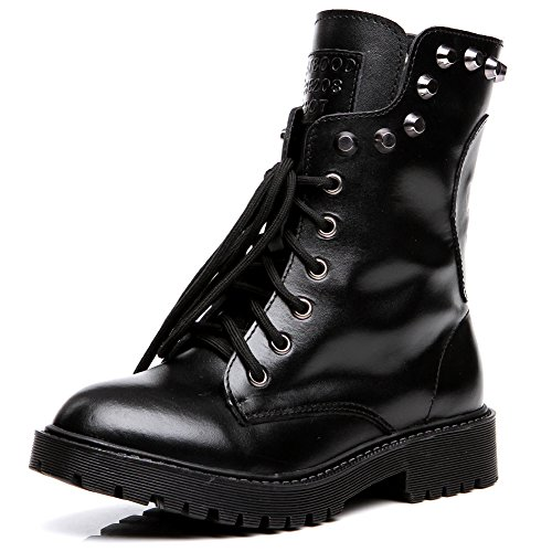 Shenn Women's Round Toe Knee High Punk Military Combat Boots(Black,US10) by Shenn