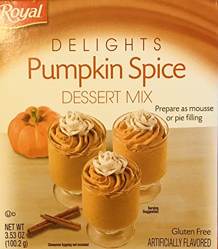 Royal Delights Dessert Mix! Choose From Pumpkin Spice, Chocolate French Silk, Or White Chocolate! Prepare As Mousse Or Pie Filling! Delicious! Easy To Make! 1 Pack! (Pumpkin Spice)