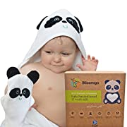Baby Bath Hooded Towel Set with Wash Mitt | Natural Bamboo Kids Towel with Hood | Large, Extra Soft and Absorbent to Keep Babies Warm and Dry | Cute Panda Gift Set | for Newborn, Toddler, Girl, Boy