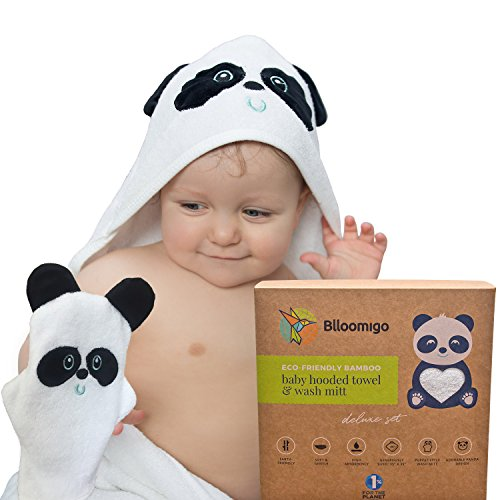 Baby Bath Hooded Towel Set with Wash Mitt | Natural Bamboo Kids Towel with Hood | Large, Extra Soft and Absorbent to Keep Babies Warm and Dry | Cute Panda Gift Set | for Newborn, Toddler, Girl, Boy (Bath Hooded Hooded Bath Towel Towels)