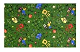 Scribbles Green Multi - 2'x3' Custom Stainmaster Premium Nylon Carpet Area Rug ~ Bound Finished Edges