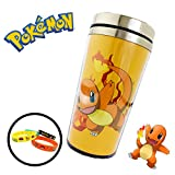 Pokemon (16 oz ounce) (473 mL) Travel Thermos Coffee Mug Cup Lid & 4-Pack Bracelets - Great for Camping Outdoors Office Work Birthday Gift Back to School Backpacks (Charmander)