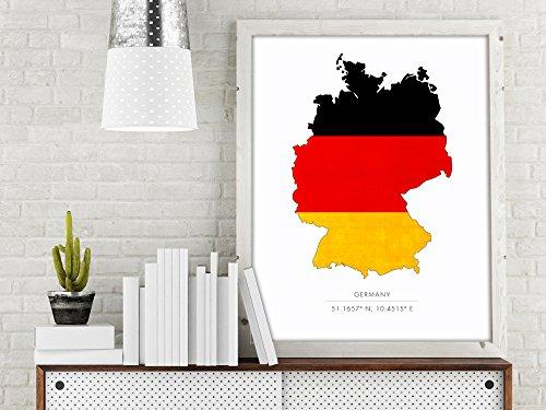 Germany Map Art Print, Germany Map Print, Germany Art Print, Flag Print, Travel Print, Map Print, Map Poster, German Flag, Germany - To Usps Ship Germany