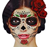 #9: Glitter Red Roses Day of the Dead Sugar Skull Temporary Face Tattoo Kit - Pack of 2 Kits