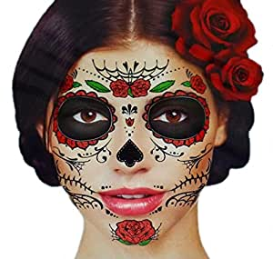 Glitter red roses day of the dead sugar skull for Fake tattoos amazon
