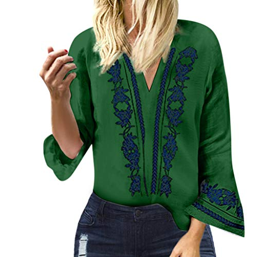 CUCUHAM women Fashion Ladies V-Neck Print Flare Long Sleeve Blouse Pullover Tops Shirt(Green,Small)