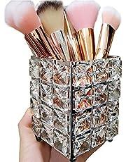 VINCIGANT Crystal Beads Makeup Brush Holder Organizer Storage Sliver Cosmetic Tools Organizer Pen Pencil Holder for Dresser Bathroom Organizer