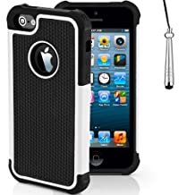 Case for Apple iPhone 5s 5 SE Shockproof Phone Cover with Screen Protector / iCHOOSE / White