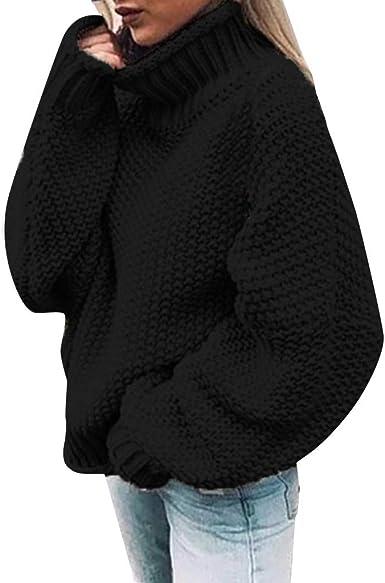 Reooly Jersey de Punto Mujer Color sólido Casual sin Tirantes Bufanda Cuello cálido Jersey Camisa de Manga Larga: Amazon.es: Ropa y accesorios
