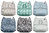 #4: Mama Koala One Size Baby Washable Reusable Pocket Cloth Diapers, 6 Pack with 6 One Size Microfiber Inserts (Serenity)